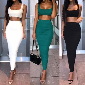2Pcs Set Women Crop Tops And Skirt Matching Set Women Two Pieces Sexy Beach Short Tops+Bodycon Skirt Skinny Tracksuits Suits Set