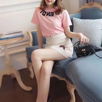 """""""FENDI"""" Woman Casual  Fashion Embroidery Letter  Print  Short Sleeve T-shirt Tops"""
