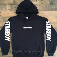 Starboy The Weeknd Black Hoodie XO Gildan Starboy Tour Merch The Weeknd Hoody BLACK - WHITE