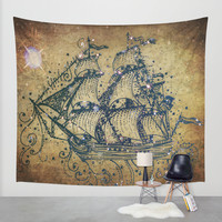 The Great Sky Ship Wall Tapestry by Jenndalyn | Society6