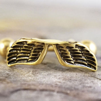 16g Gold Feathered Angel Wings Ear Cuff Cartilage Earring
