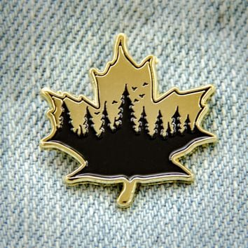 Fall Leaf Enamel Pin in Gold