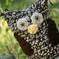 Crochet stuffed Owl toy decor In beautiful shade by scraptrapped
