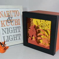 Naruto shadow box with light - Special night light, unique special gift, geek night light, anime fan night light, home decor