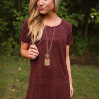 Soho Starlet Faux Suede Shift Dress in Sangria