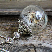 Necklace with real dandelion, Jewelry Glass Globe Pendant, blown ball, raffinesse