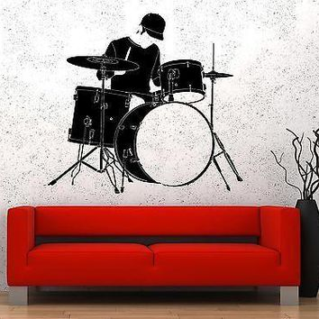 Wall Vinyl Music Drum Drummer Guaranteed Quality Decal Unique Gift (z3498)
