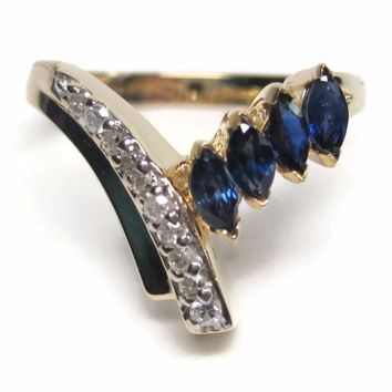 Vintage 14K Marquise Cut Sapphire and Diamond Crossover Ring Size 5.75