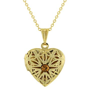 Gold Tone Filigree November Crystal Heart Photo Locket Pendant Necklace 19""