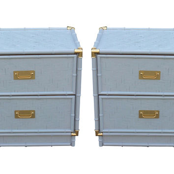 1960s  Campaign-Style  Nightstands, Pair