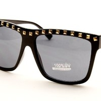W228 Pyramid Metal Studded 80s Wayfarer Clear Party Eyeglasses Sunglasses