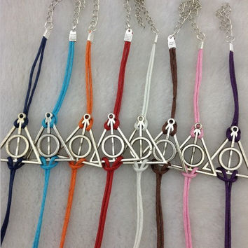 triangle bracelet,wax cords bracelets,simple bracelets,antique silver,accessories,Harry Potter bracelet - Deathly Hallows,jewelry bracelets