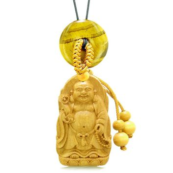 Laughing Buddha Blooming Lotus Car Charm Home Decor Tiger Eye Coin Donut Protection Powers Amulet