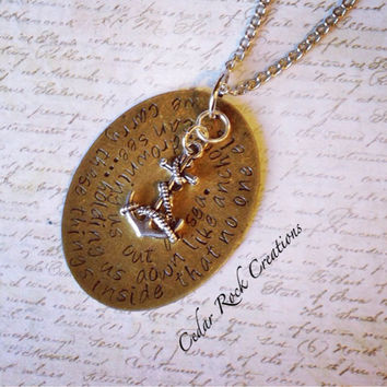 Anchor Necklace, Inspiational Quote Necklace