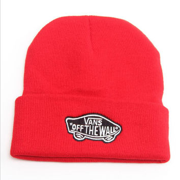 Vans Off The Wall Beanie Womens & Mens Warm Winter Knitted Cotton Unisex Red Cuffed Skully Hat