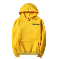 """Thrasher""Fashion  skateboard leisure loose hooded sweater yellow (7 color)"