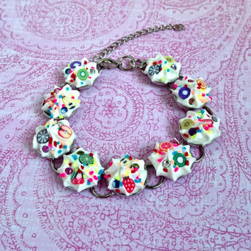 Whipped cream bracelet, sprinkles bracelet, polymer clay fruit bracelet, fruit salad bracelet, fruit jewelry, sprinkles jewelry