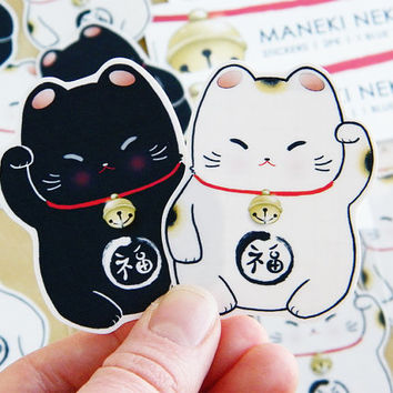 Maneki neko stickers 2 pack lucky cats