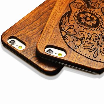 i5 5s High Quality Wooden PC phone case for iPhone 6 6s for iPhone 6s Plus Shockproof Protective Back Cover Phone Case