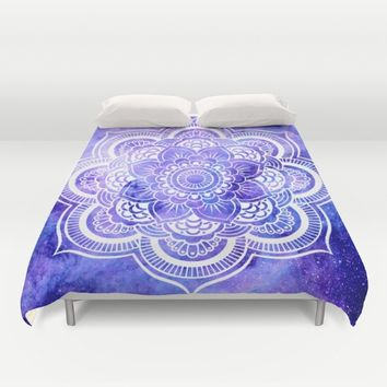 Mandala Violet Blue Galaxy Space Duvet Cover by 2sweet4words Designs