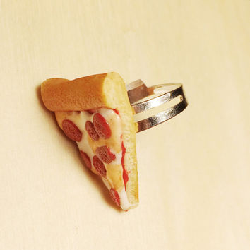 Pepperoni Pizza Slice Polymer Clay Adjustable Ring