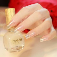 Glitter Silver Artificial Fake Nails Hottie Clear French Nails Simple Design Nails For Finger Manicure Tools Z298