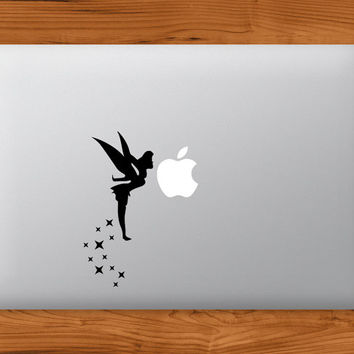 Tinkerbell Fairy Kissing Apple MacBook Decal Laptop Sticker