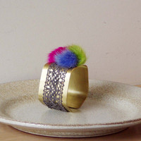 Brass geometric cuff, wide, exagonal, brass cuff with lace and fur trim, colourful brass bracelet
