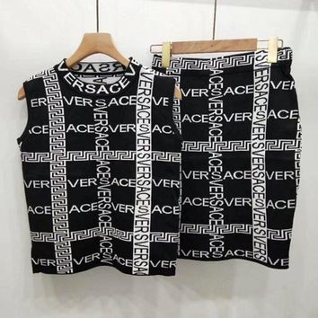 Versace Sleeveless Top Skirt Two-Piece