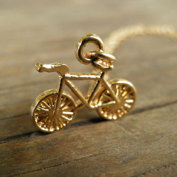 Tiny Gold  Bicycle Necklace Pendant Necklace, Tour de France Minimalist Pendant, Bicycle Jewelry, Unisex Gift , 14k Gold Filled