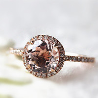 7mm Pink Round Morganite Ring 14K Rose Gold Halo Dimonds Pave Morganite Rings/Promise Ring/Engagement Rings/Eternity Ring/Solitaire Ring