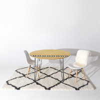 Allyson Johnson Yellow Stripes And Arrows Round Table