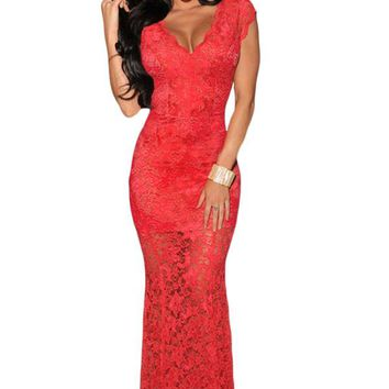 Chicloth Red Lace Nude Illusion Low Back Evening Dress