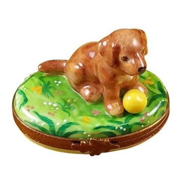Dog Puppy with Yellow Ball Limoges Porcelain Boxes