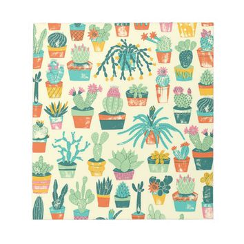 Colorful Cactus Flower Pattern Note Pad