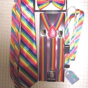 Unisex Rainbow Stripes Adjustable Bow tie,Neck Tie,Suspenders,Lanyard,Shoelaces
