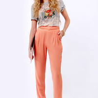 Living the High Life Coral High-Waisted Pants
