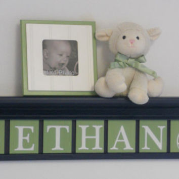 "Football Nursery Decor 30"" Navy Blue Shelf with 7 Green Wooden Wall Letters Personalized for ETHAN with Footballs Baby Boy Gift Shelves"