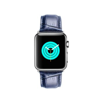 MINTAPPLE Alligator Leather Apple Watch Strap - Blue