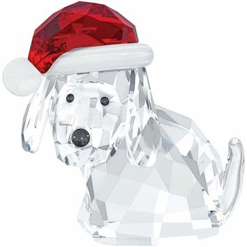 Swarovski Crystal Figurine Christmas DOG WITH SANTA'S HAT #5060449