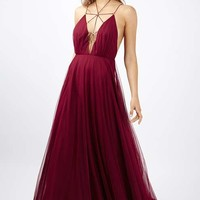 Tulle Lace Up Maxi Dress - All Dressed Up - Clothing