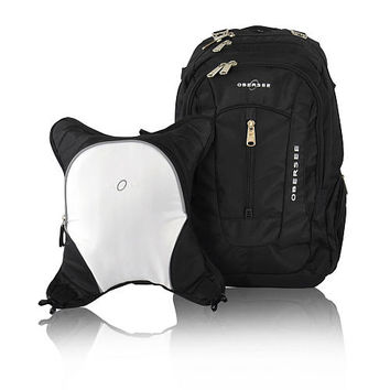 Obersee Bern Backpack Diaper Bag and Cooler - Black / White