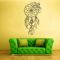 Wall Decal Vinyl Sticker Decals Dream Catcher Dreamcatcher Flower Feathers z1401