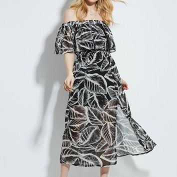 """ASYM"" Floral Imprint Women's Mid-Knee Dress"