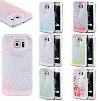 Bling Sparkle Glitter Heart Liquid Quicksand Case For Samsung Galaxy S6 S7 edge