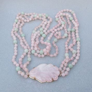 LONG Vintage Rose Quartz & Jade Bead Triple Strand Graduated Necklace, Big Shell Pendant