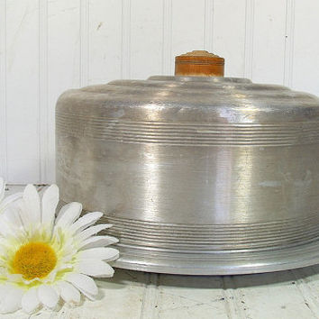 Mid Century Round Cake Carrier with Wood Handle - Vintage WestBend Spun Aluminum 2 Piece Set - Shabby Chic BoHo Bistro Metal Bakery Keeper