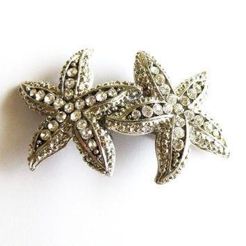 Silver Rhinestone Starfish Hair Clip Starfish Barrette Beach Bridal Hair Clip Beach Wedding Hair Accessories Beach Bride Beach Bridesmaids