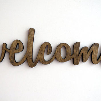 welcome wood sign, wall art, home decor, entrance door