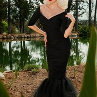 Laura Byrnes California Monica Mermaid Dress in Black